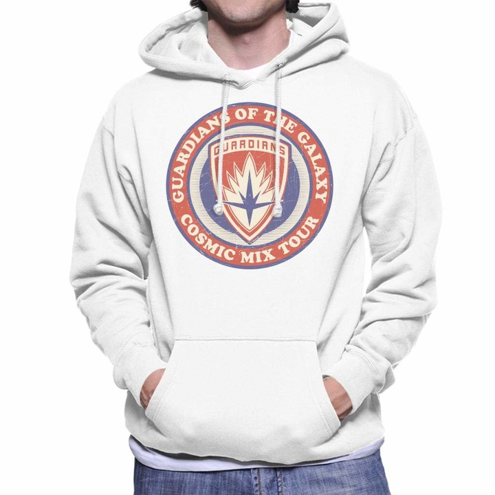 Thumbnail for your product : Marvel Guardians of The Galaxy Cosmic Mix Tour Badge Men's Hooded Sweatshirt White