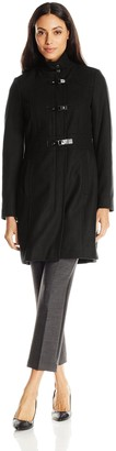 Kenneth Cole New York Kenneth Cole Women's Single Breasted Wool Coat with Buckle Closure