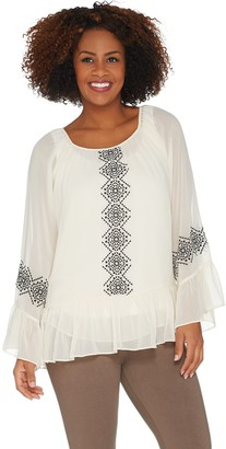 Laurie Felt Embroidered Aztec Blouse with Ruffle Hem