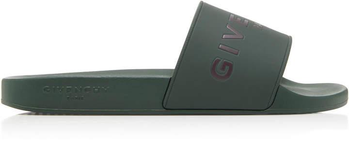 Givenchy Green Logo Pool Slide Sandals