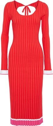 Prabal Gurung Striped Ribbed-knit Midi Dress