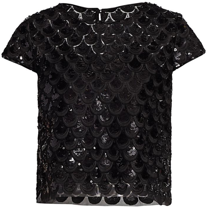MILLY Womens Cap Sleeve Embroided Scallop Lace Cropped Baby Tee