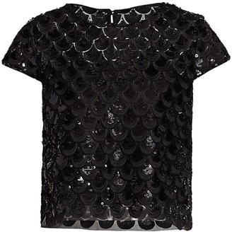 Milly Scallop Sequin Baby Tee
