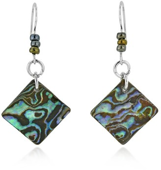 Aeravida Handmade Ocean Waves Abalone Shell Tilted Squares or Rhombus Shaped Dangle Earrings