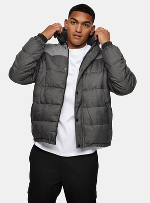Topman Grey Panel Padded Puffer Jacket