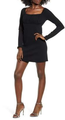 Leith Empire Waist Long Sleeve Cotton Blend Minidress