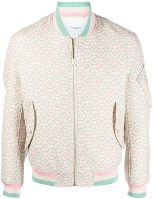 Casablanca Geometric-Print Zip-Up Bomber Jacket