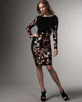 Leopard-Print Blocked Dress
