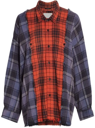 R 13 Combo Plaid Long-Sleeve Button-Up Workshirt