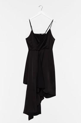 Nasty Gal Womens Plus Strappy Frill Asymmetric Hem Dress - Black - 22