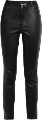 Theory Cropped Stretch-leather Skinny Pants