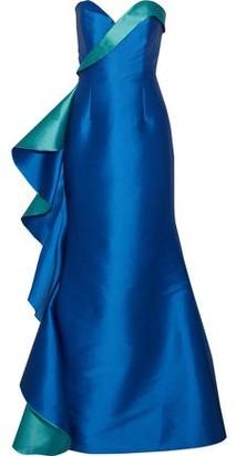 Sachin + Babi Galsworthy Strapless Two-tone Duchesse Satin-twill Gown