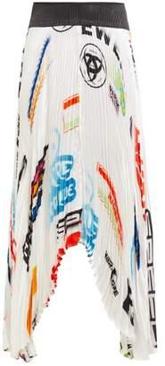 Marine Serre Logo Print Contrast Panel Pleated Satin Skirt - Womens - White Multi