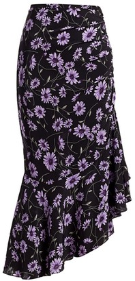 Michael Kors Asymmetric Silk Floral Gathered Skirt