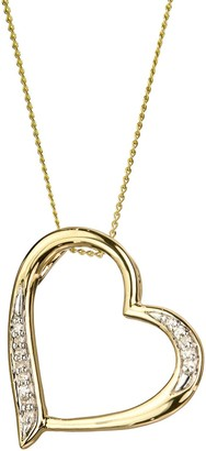 Love Diamond Love DIAMOND 9ct Gold Diamond Set Heart Pendant Necklace