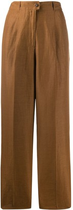 Agnona High-Waisted Linen Trousers
