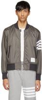 Thom Browne Grey Shoulder Gusset Four Bar Bomber Jacket