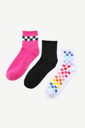 Ardene Neon Checker Crew Socks
