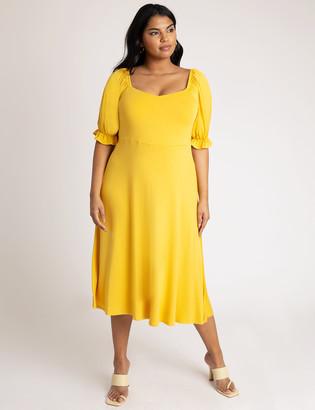 ELOQUII Puff Sleeve Sweetheart Neckline Dress