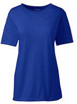 Lands' End Women's Petite Relaxed Supima Crewneck T-shirt-Rich Sapphire