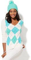 New York & Co. Waverly V-Neck Sweater - Argyle