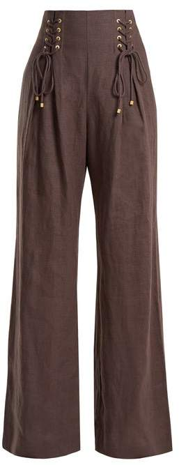Zimmermann Painted Heart Wide Leg Lace Up Linen Trousers - Womens - Charcoal