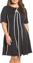 Gabby Skye Plus Size Women's Keyhole Fit & Flare Dress