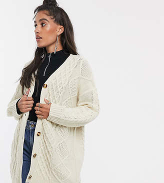 Reclaimed Vintage inspired oversized cable knit cardigan-Cream