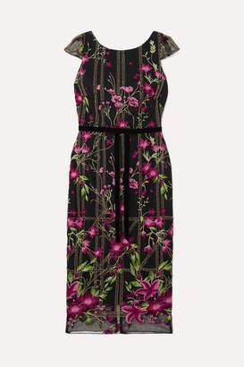 Marchesa Velvet-trimmed Embellished Embroidered Tulle Midi Dress - Black
