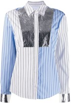 MSGM patchwork striped shirt