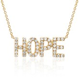 Ef Collection 14K Yellow Gold Pave Diamond 'Hope' Pendant Necklace - 0.09 ctw