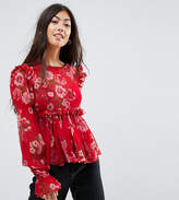 Asos Ruffle Smock Blouse in Red Floral