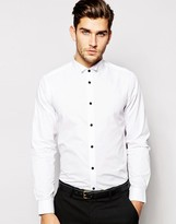 Asos Skinny Shirt With Wing Collar And Contrast Buttons