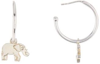 Alex and Ani Sterling Silver Elephant Charm Huggie Hoop Earrings
