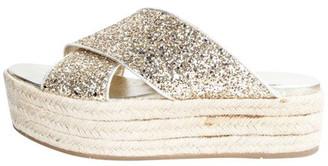Miu Miu Gold Sparkling Leather Platform Wedges Sandals Size 38.5