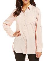 Calvin Klein Roll-Sleeve Hi-Low Hem Crepe De Chine Tunic