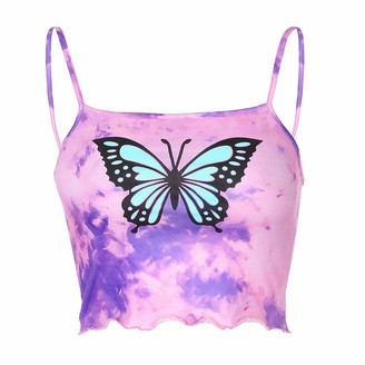 Beetlenew Womens Blouses Womens Graphic Crop Tops Summer Sleeveless Tie-dye Butterfly Pattern Print Straps Tank Top Casual Slim Gradient Cami Vest Beach Color Block Shirt Camisole Strappy Blouse Purple