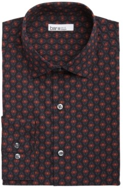 Bar III Men's Slim-Fit Performance Stretch Geo-Print Dress Shirt, Created for Macy's