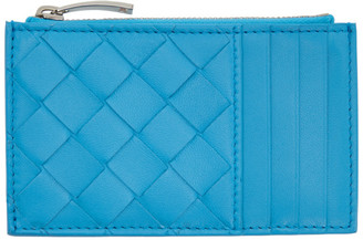 Bottega Veneta Blue Intrecciato Zip Card Holder