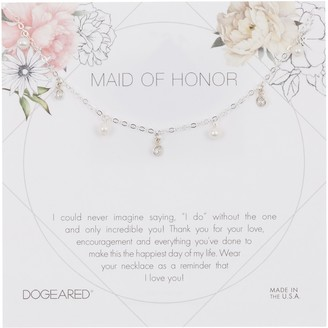 Dogeared Sterling Silver Maid of Honor 3mm Pearl Charm Necklace