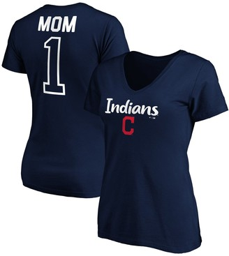 Women's Fanatics Branded Navy Cleveland Indians #1 Mom V-Neck T-Shirt