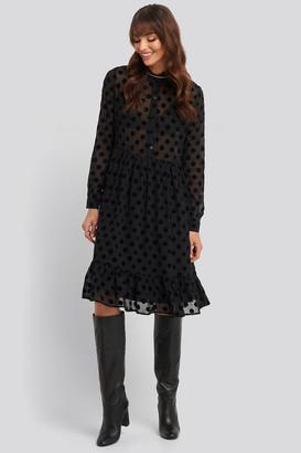 NA-KD Polka Dot Mesh Dress Black