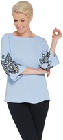 Bob Mackie Embroidered Lace and Cut Out Bell Sleeve Pullover Top