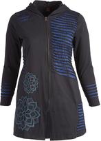 Aller Simplement Black & Blue Stripe-Accent Zip-Up Hooded Cardigan - Plus