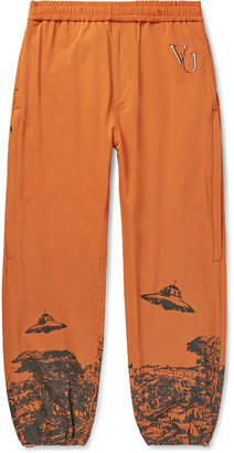 Undercover Valentino Tapered Printed and Embroidered Nylon-Blend Sweatpants - Men - Orange