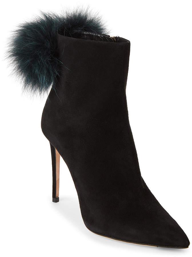 Jimmy Choo Black & Teal Tesler Real Fur Pom-Pom Ankle Boots
