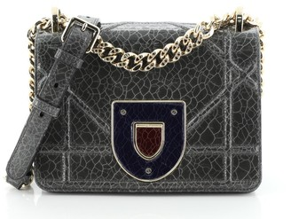 Christian Dior Diorama Club Flap Bag Crackled Deerskin Small
