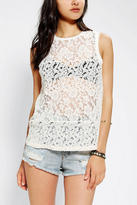 Urban Outfitters Pins And Needles Mixed Lace Muscle Top