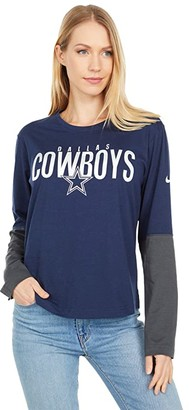 Dallas Cowboys Dallas Cowboys Nike City Mascot Long Sleeve Breathe Top (Navy Anthracite) Women's Clothing