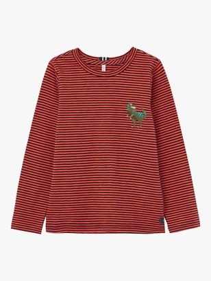 Joules Little Joule Boy's Island Dinosaur Stripe Jersey Top, Orange